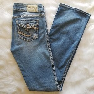 Silver Suki Flap X-Long Boot Cut Jean Tall Size 29